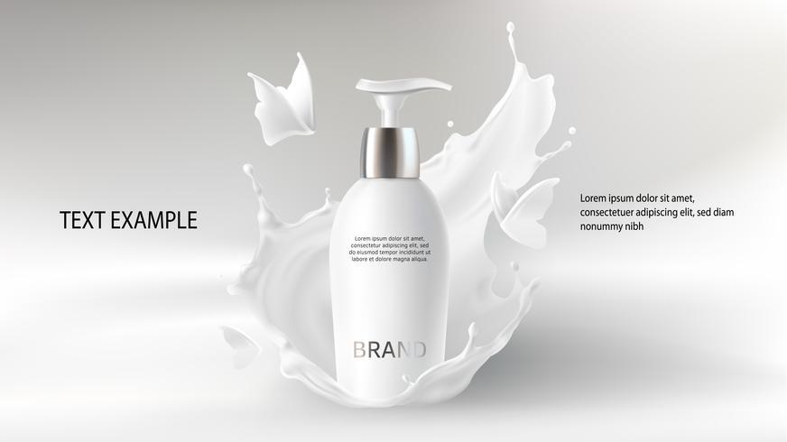 Fondo de vector realista cosmético con crema