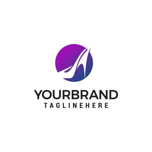 hoge hakken cirkel logo ontwerp concept sjabloon vector