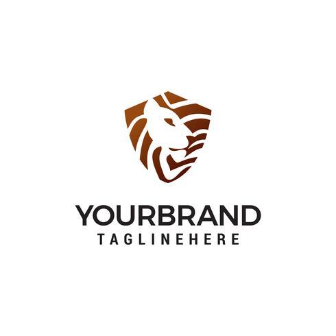 tête lion bouclier logo design concept template vecteur