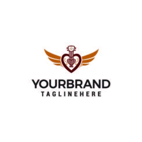 vettore creativo del modello di concetto di progetto di logo della chitarra di amore