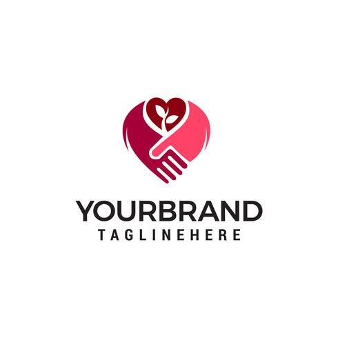 poignée de main amour logo design concept template vecteur