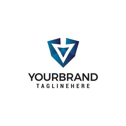 flèche vers le bas logo design concept template vecteur