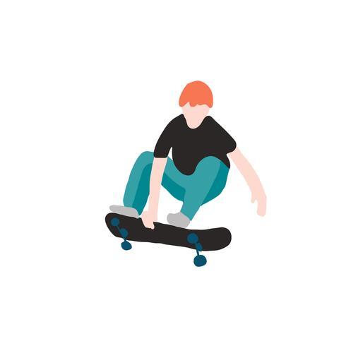pattinatore in jeans e scarpe da ginnastica. Skateboard. Illustrazione vettoriale per una cartolina o un poster, stampare per i vestiti. Culture di strada