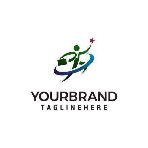 vetor de modelo de conceito de design de logotipo bem sucedido de pessoas