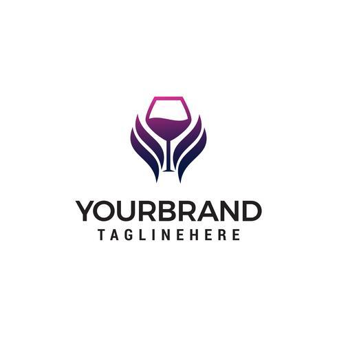 verre aile vin logo design concept template vecteur