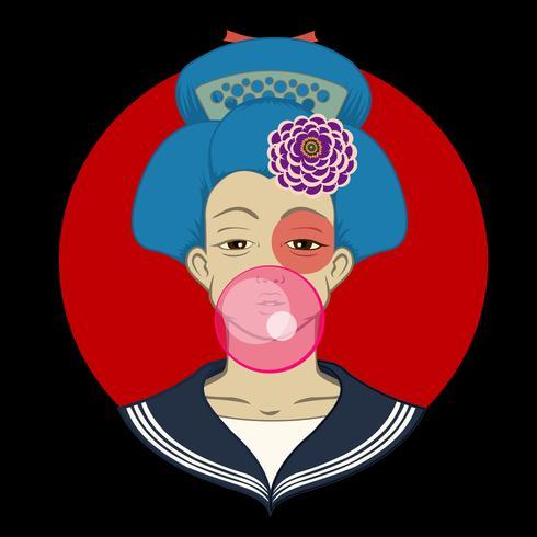 La bella geisha giapponese tiene l'illustrazione rossa di vettore del fan.