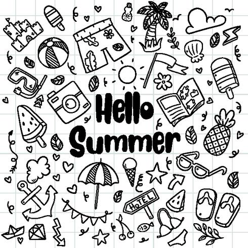 hand drawn summer beach doodles isolated vector symbols and objects Icon Set on chalkboard.