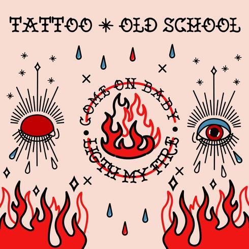 Tatouage de la vieille école. Yeux, taers et feu vecteur