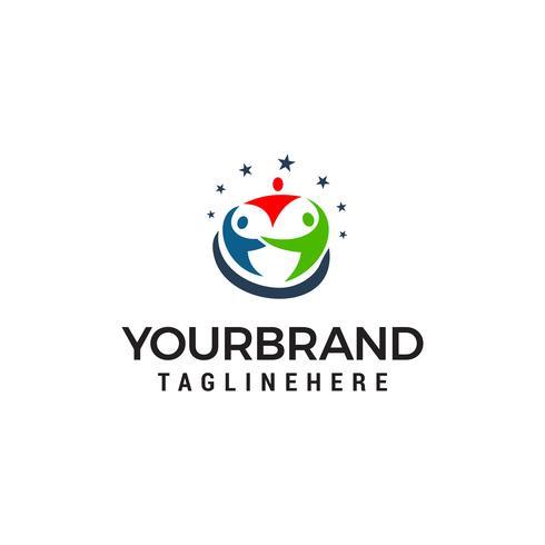 personnes soins logo design concept template vecteur