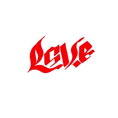 Moderne gotische Kalligraphie. Handschriftliche Phrase Liebe