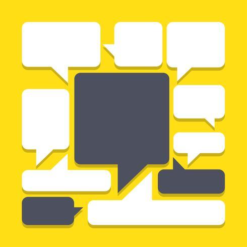 bulles pour discours sur fond jaune