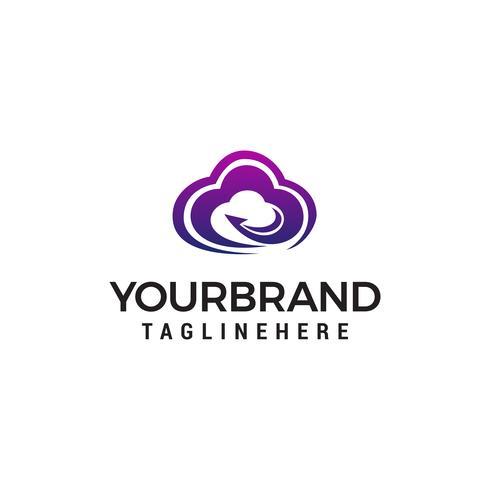 cloud faster logo design concept template vector