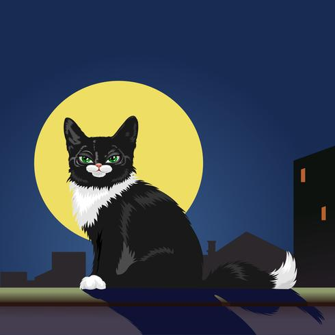Black Cat on roof. A black cat on the roof looking at the full moon. There are buildings in the background. vector