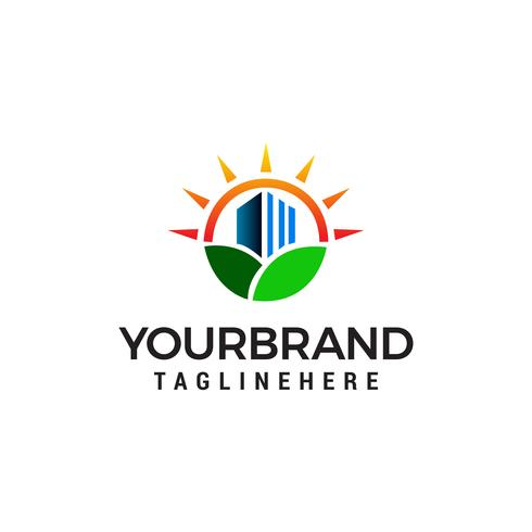 nature immobilier logo design concept template vecteur. Vert ci