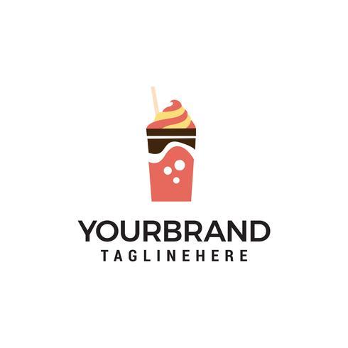 ice cream glass logo design concept template vector