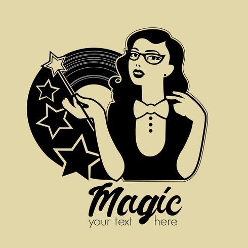 Vector illustration of young woman with magic wand. Magic retro emblem