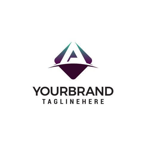 letter A hexagon logo design concept template vector