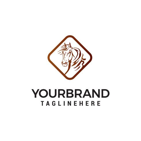 vettore del modello di concetto di progettazione di logo di cavallo testa