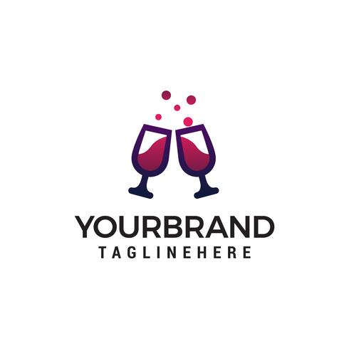 cheers glass wine logo design concept template vector