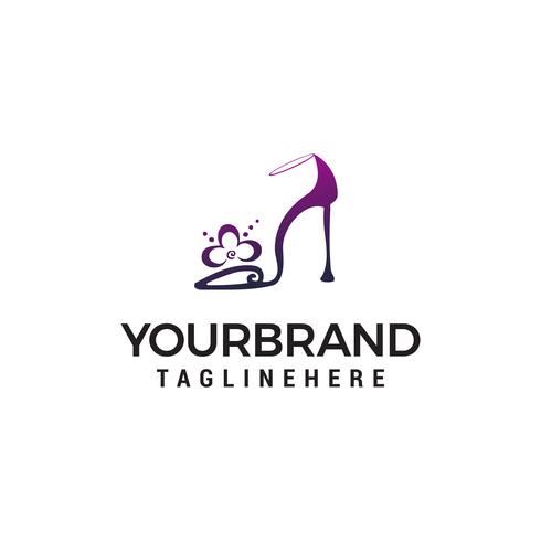 high heels logo design concept template vector