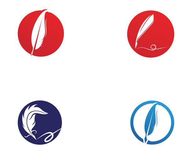 Feather pen write sign logo template app icons vector