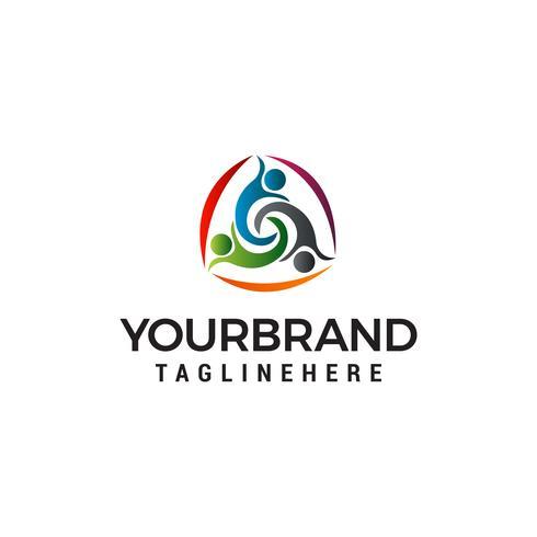three people healthy logo design concept template vector