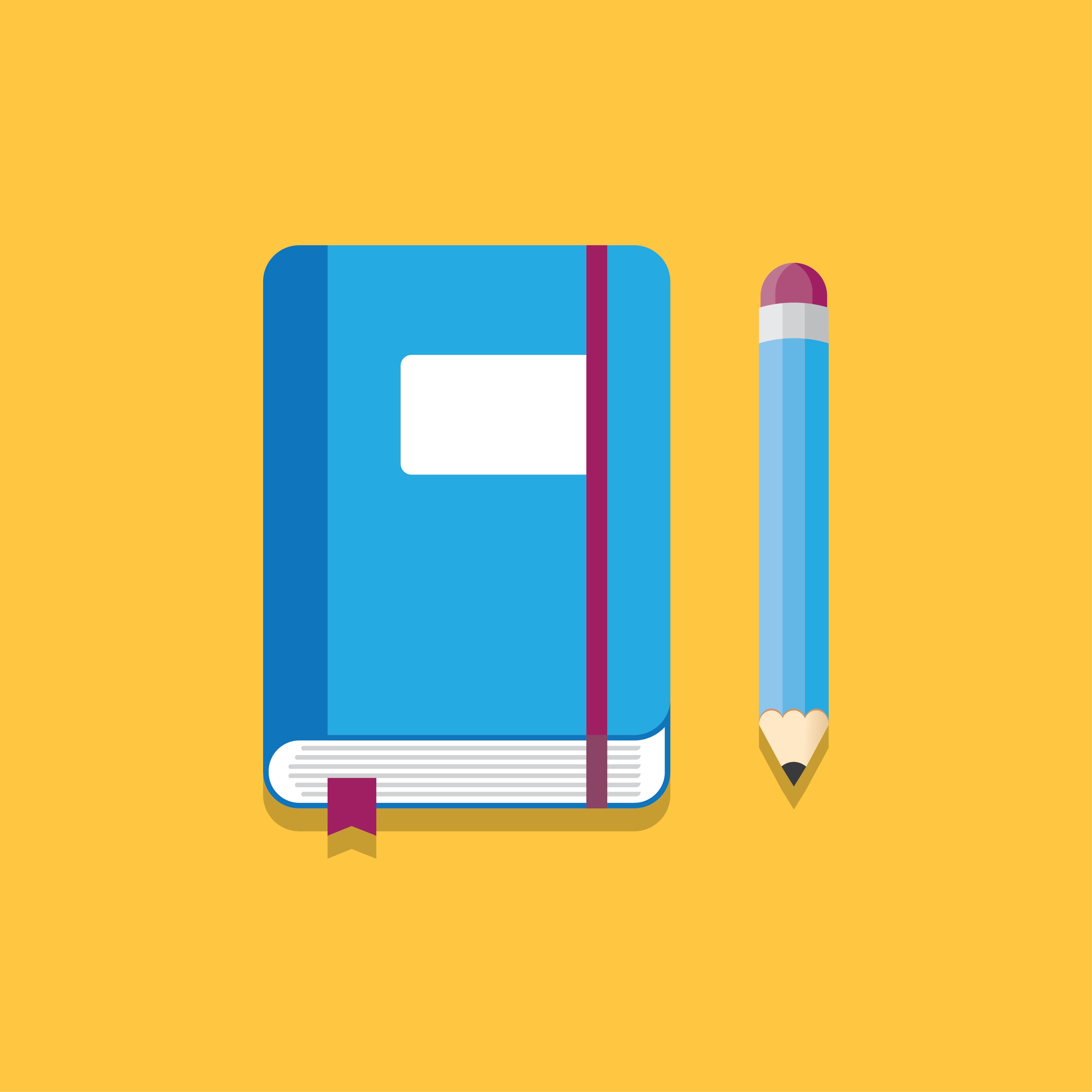 Cuaderno y lápiz Vector - Descargar Vectores Gratis