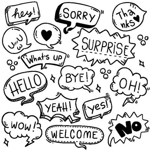 fundo de mão desenhada conjunto de texto de eith de bolha fofo discurso em estilo doodle