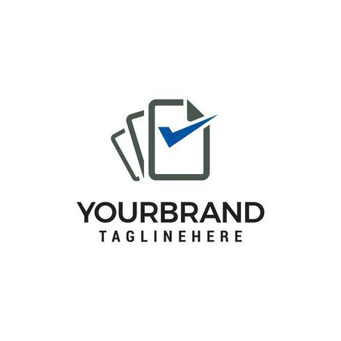 Datei Dokument Check Logo Design Konzept Vorlage Vektor