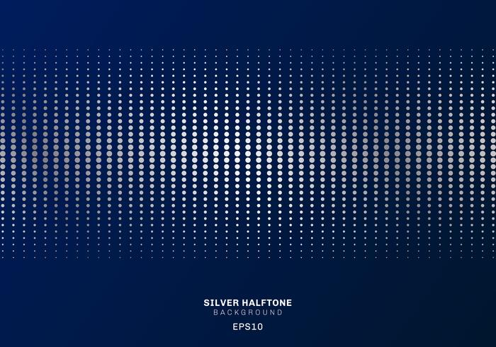 Abstract silver dots pattern halftone on dark blue background luxury style. vector