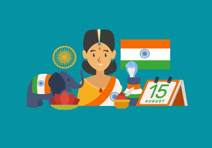 Celebrating India Independece Day Vector Illustration