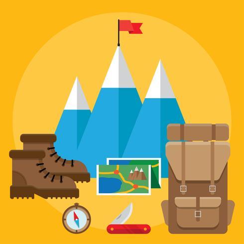 Mountain hiking and climbing vector