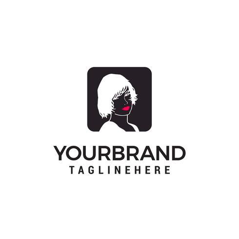 femme visage logo design concept template vecteur