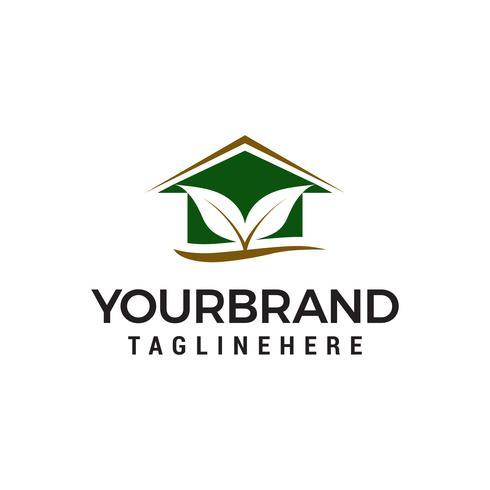 vetor de modelo de conceito de design de logotipo de casa de folha