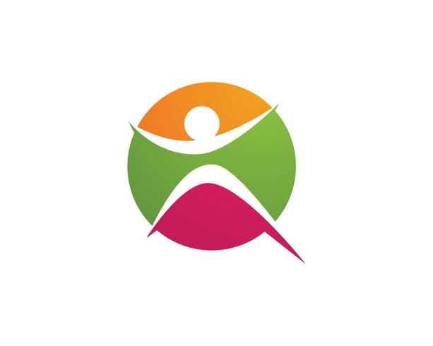 Signe de logo de caractère humain, logo de la santé. Signe de logo de nature. Signe de la vie verte logo, vecteur