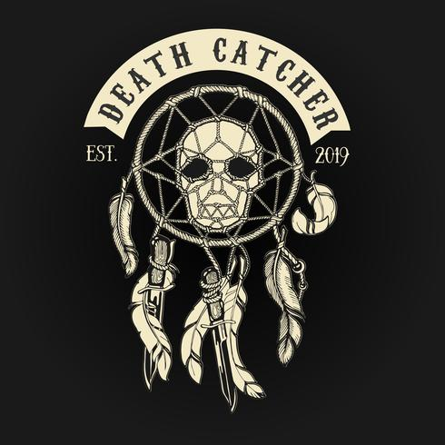 Biker Skull Death Catcher Logo vector