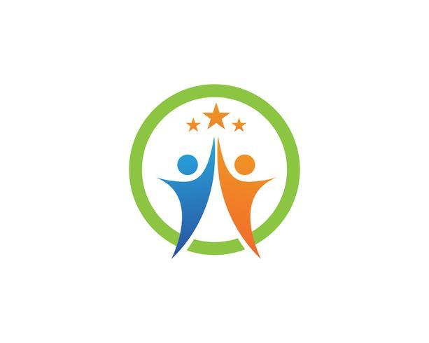 Star succès personnes logo modèle vector icon design illustration