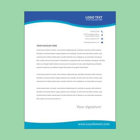 Blue awesome letterhead pad vector