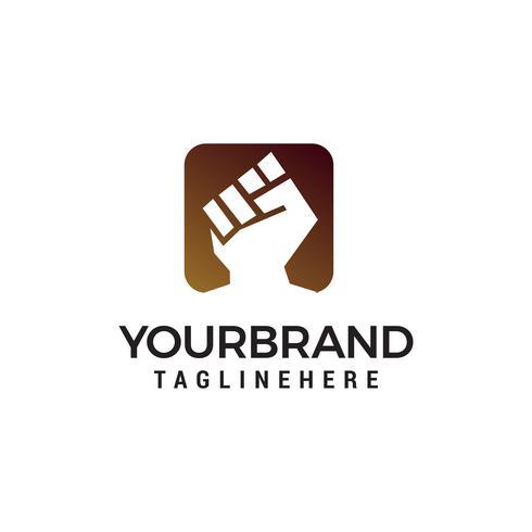 vetor de modelo de conceito de design de logotipo de mãos cerradas