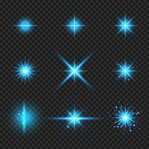 Set of elements glowing blue light burst rays,, stars bursts with sparkles isolated on transparent background vector