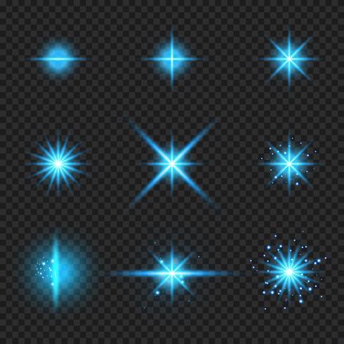 Conjunto de elementos que brillan intensamente rayos de luz azul ráfaga, estrellas estalla con destellos aislados sobre fondo transparente