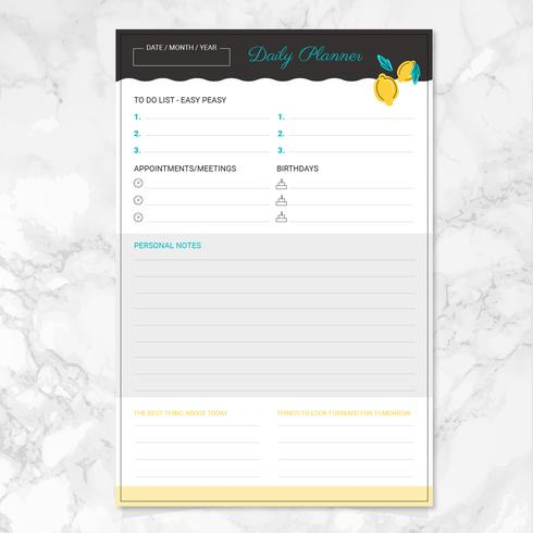 Vector Daily Planner Template