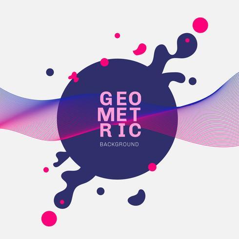 Abstracte blauwe geometrische vormen en plonscirkel met dynamische roze lineaire golven op witte achtergrond.