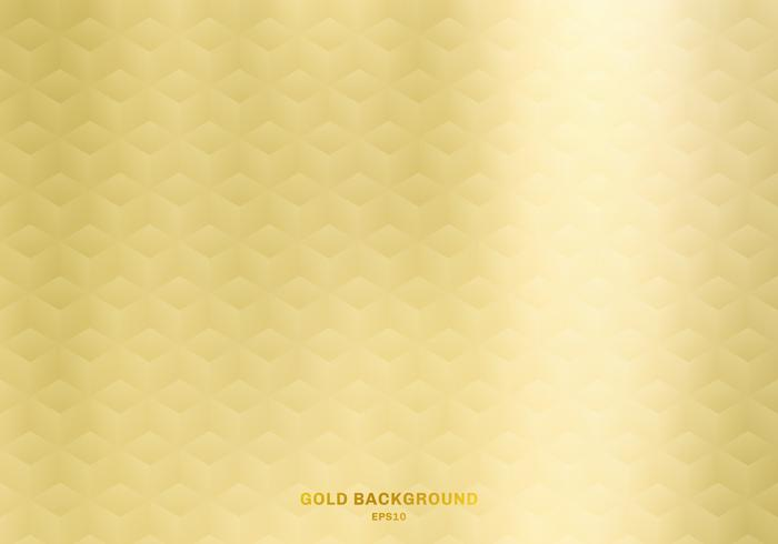 3D realistic cubes pattern geometric symmetry gold gradient color background and texture. Luxury style.