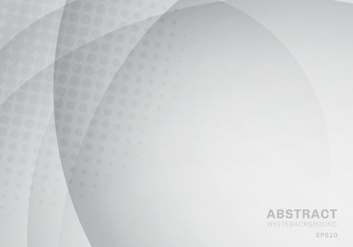 Abstract circle and curve with halftone texture white and gray background. vector