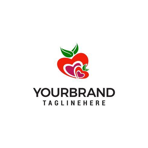 vetor de modelo do coração fruta logotipo design conceito