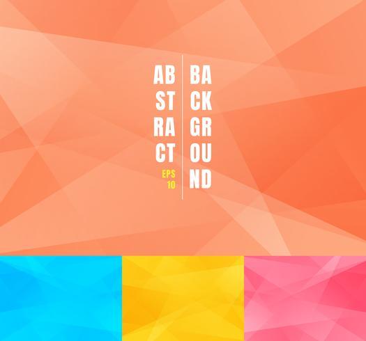 Set di basso poli alla moda sfondo astratto. Triangoli geometrici moderni futuristici morbido minimal poligoni forme modello di layout di progettazione grafica.