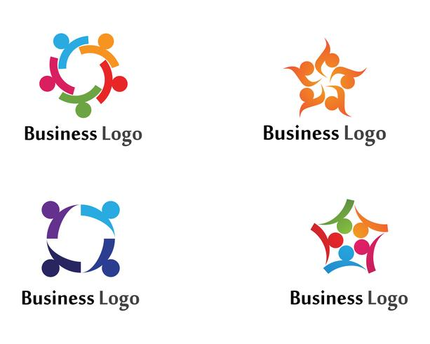 Community groep ui mensen geven logo en symbolen sjabloon