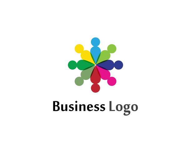 Modèle de logo et de symboles pour le soin des gens du groupe communautaire vecteur