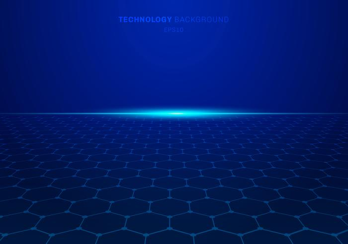 Abstract blauw technologie zeshoekig patroon op achtergrond met licht exploderen.